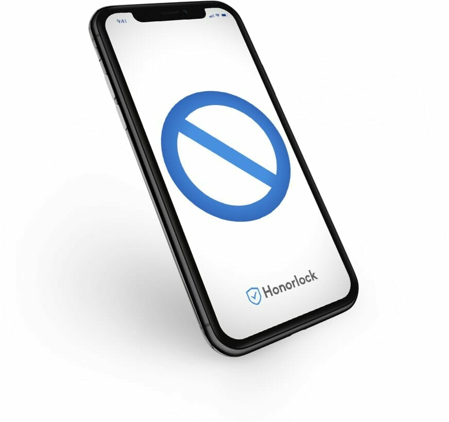 Phone with a prohibited icon on screen