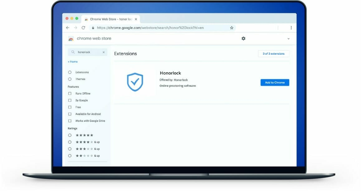 Laptop with Honorlock's Google Chrome extension