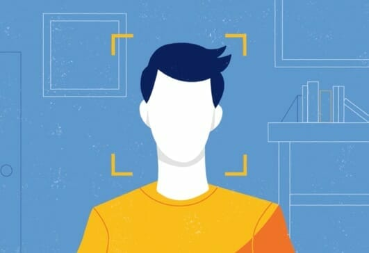 Illustration of person being ID verified by online proctor system